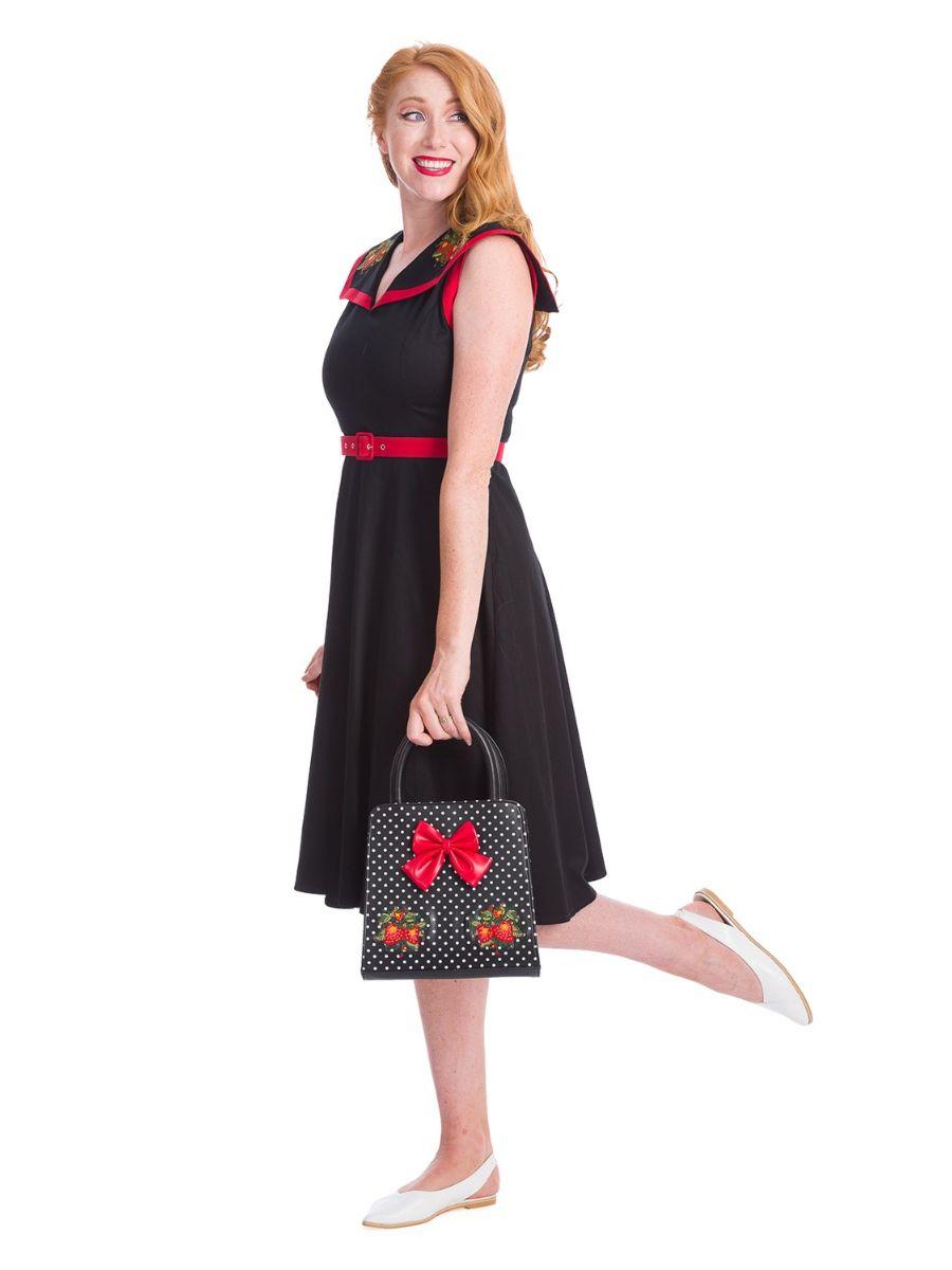 Banned Retro 1950's Strawberry Fragola Polka Dot Carla Black Handbag