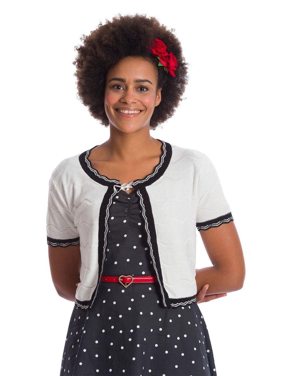 Banned Retro 1940's Sasha Scallop Knit Bolero White