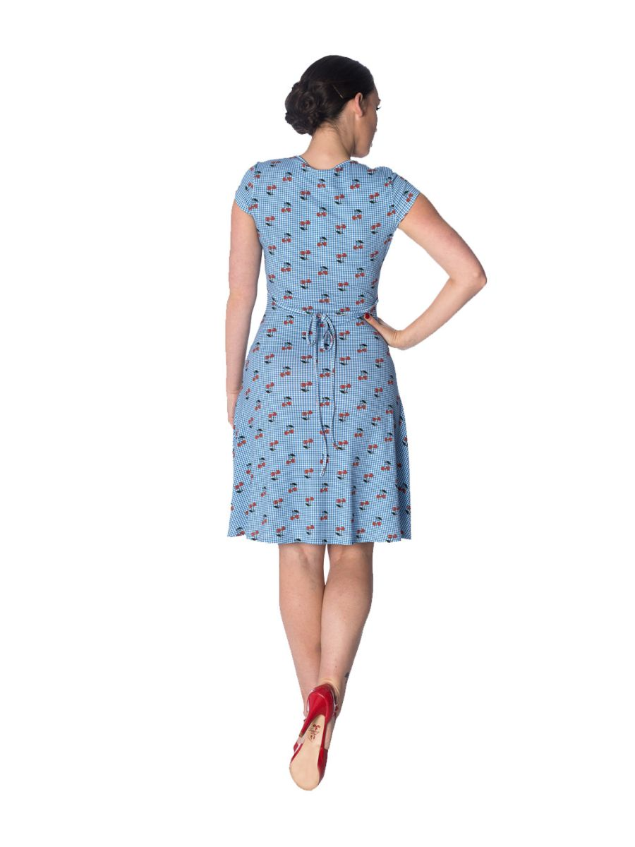 CHERRY LOVE CAP SLEEVE DRESS
