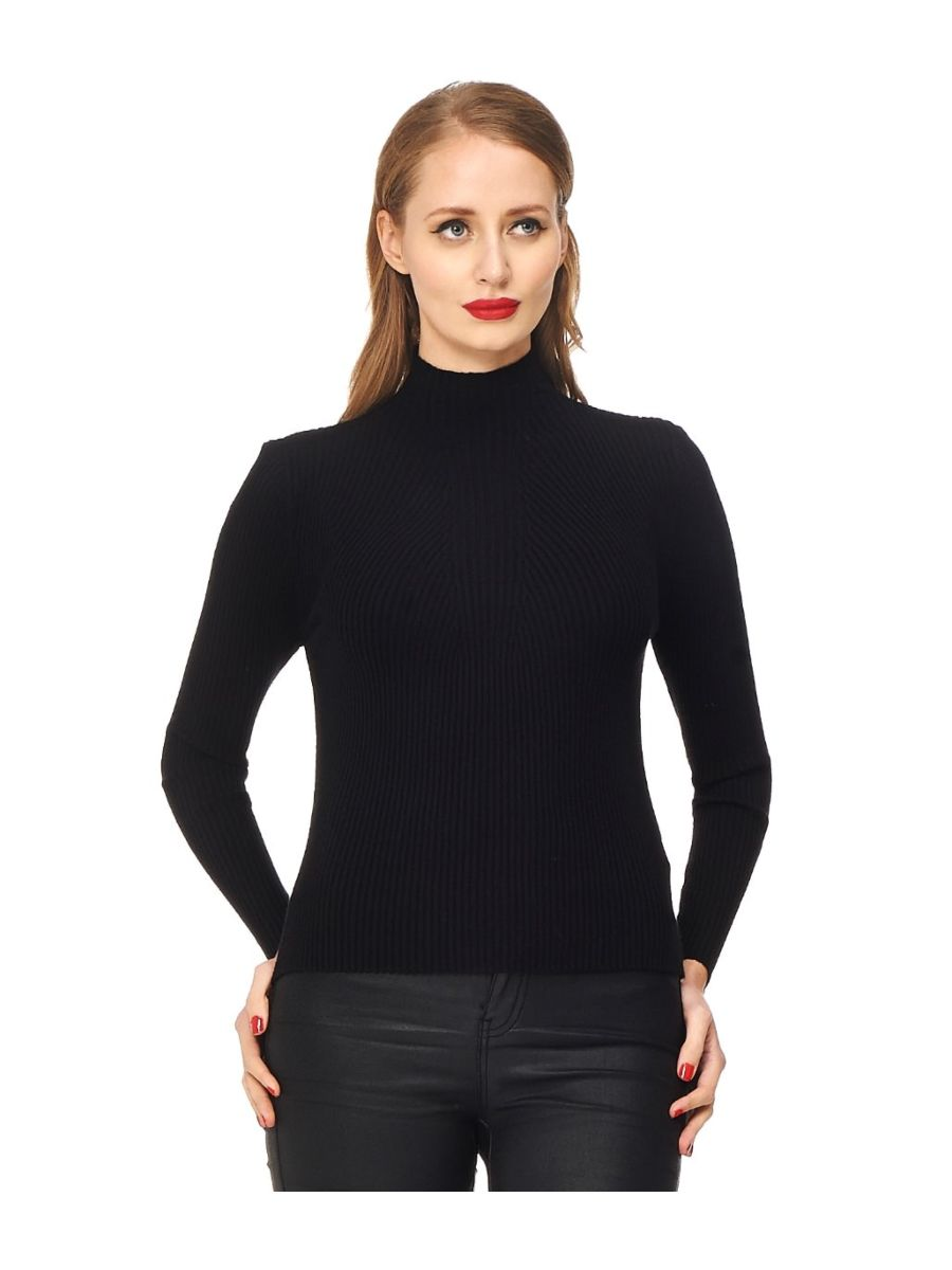 Banned Retro Let's Tango Polo Neck Ribbed Vintage Knit Top Black