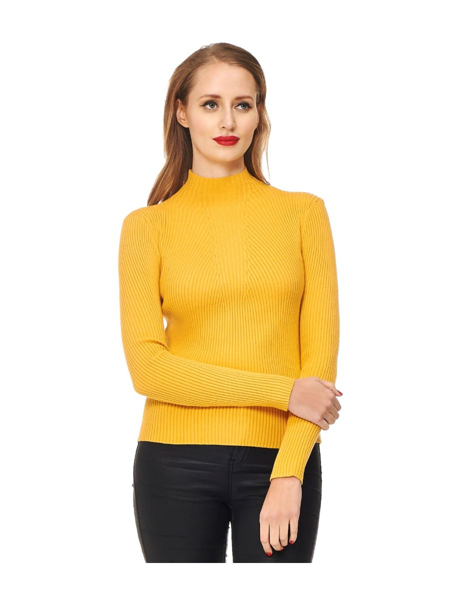 Banned Retro Let's Tango Polo Neck Ribbed Vintage Knit Top Mustard Yellow