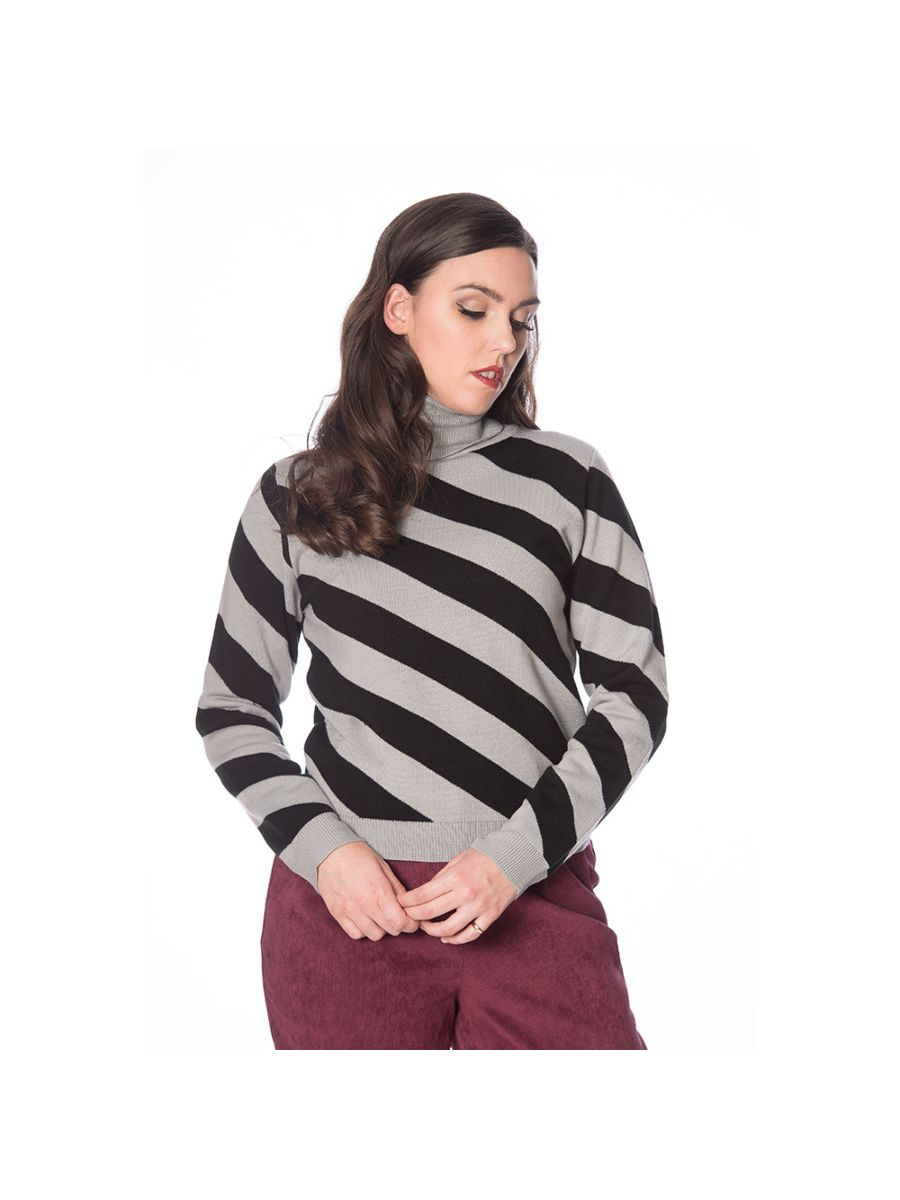 80's DIAGONAL STRIPE TURTLE NECK JUMPER