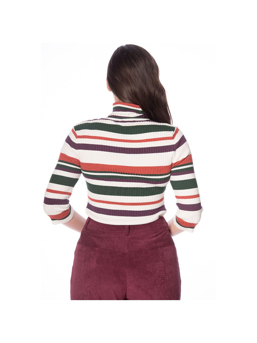 Banned Retro 70s Turtle Neck Stripe Ribbed Knit Vintage Top
