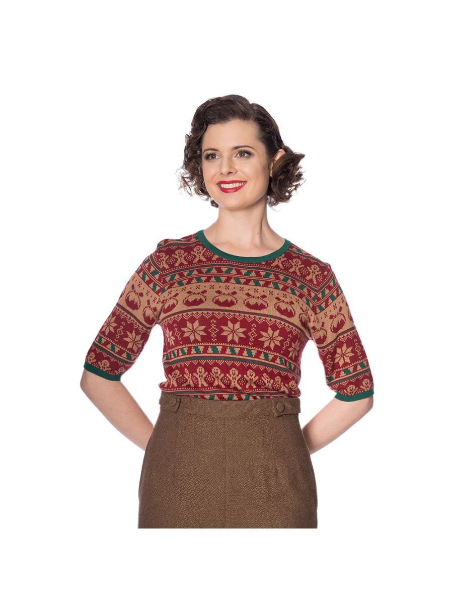 Banned Retro 1950's Christmas Pud Jacquard Vintage Ruby Jumper Brown
