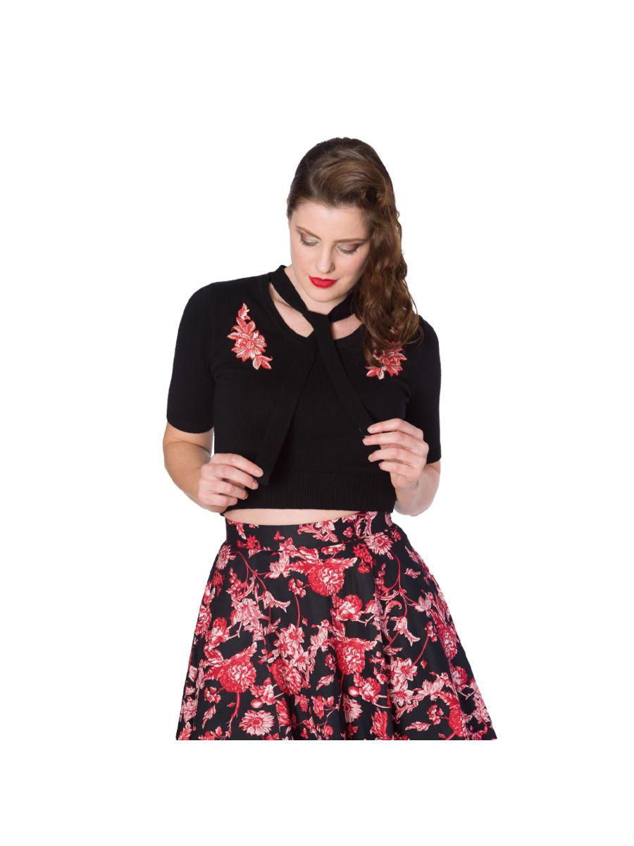 Banned Retro 1950's Winter Flower Tie Neck Knit Vintage Top Black