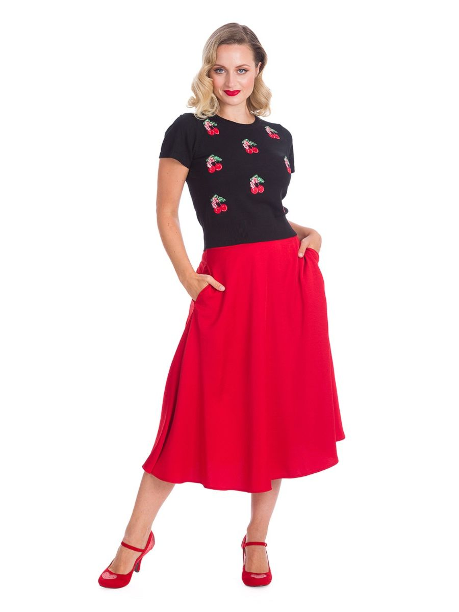 Banned Retro 1950's Cherry Berry Embroidery Knit Vintage Top Black