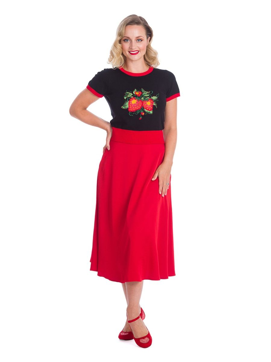 Banned Retro 1950's Strawberry Fields Ruby Black Knit Top