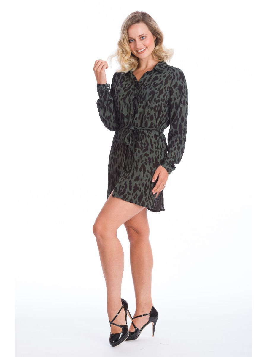 NEW YORK LOFT LEOPARD SHIRT DRESS