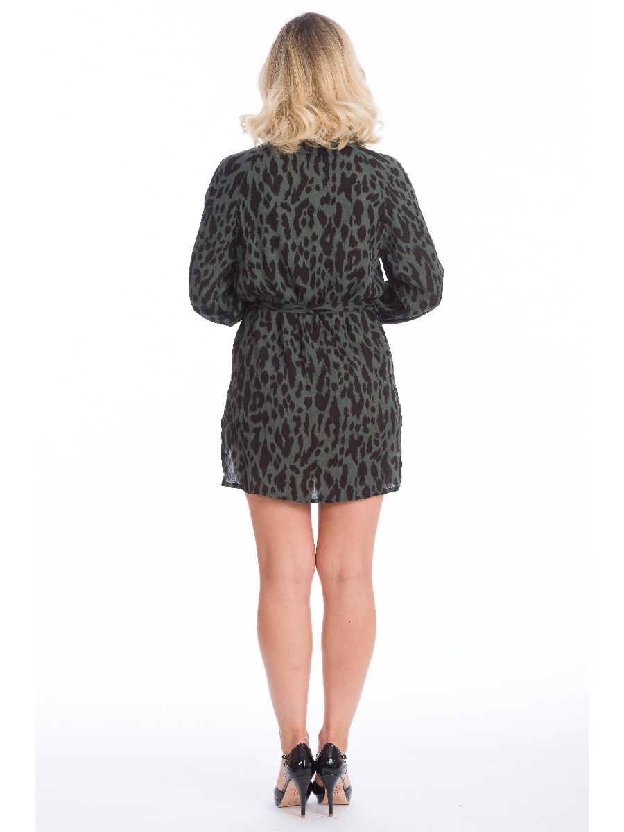 NEW YORK LOFT LEOPARD SHIRT DRESS