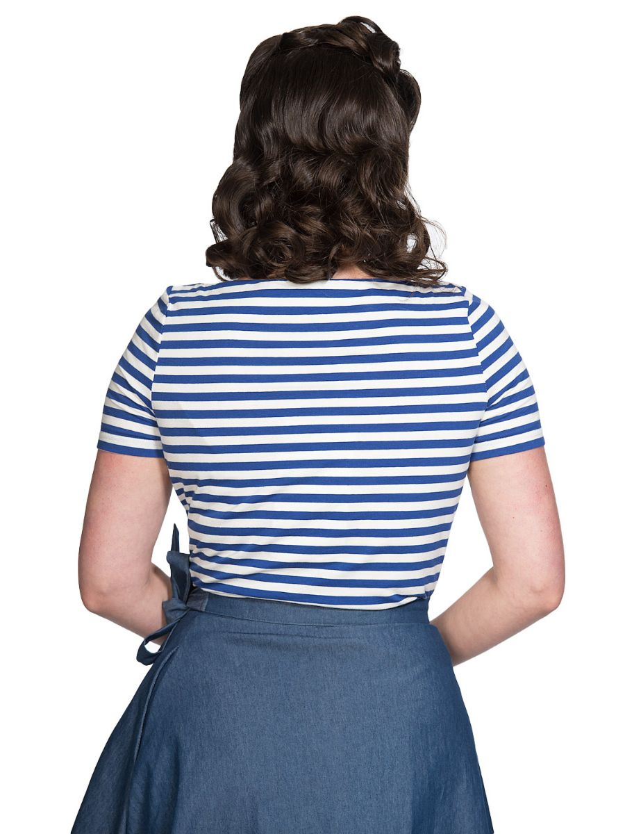 Banned Retro 1950's Stripe Nautical Boat Neck Vintage Dorothy Top Blue