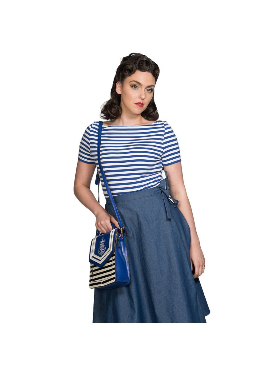 BLUE NAUTICAL STRIPE SHORT SLEEVE TOP