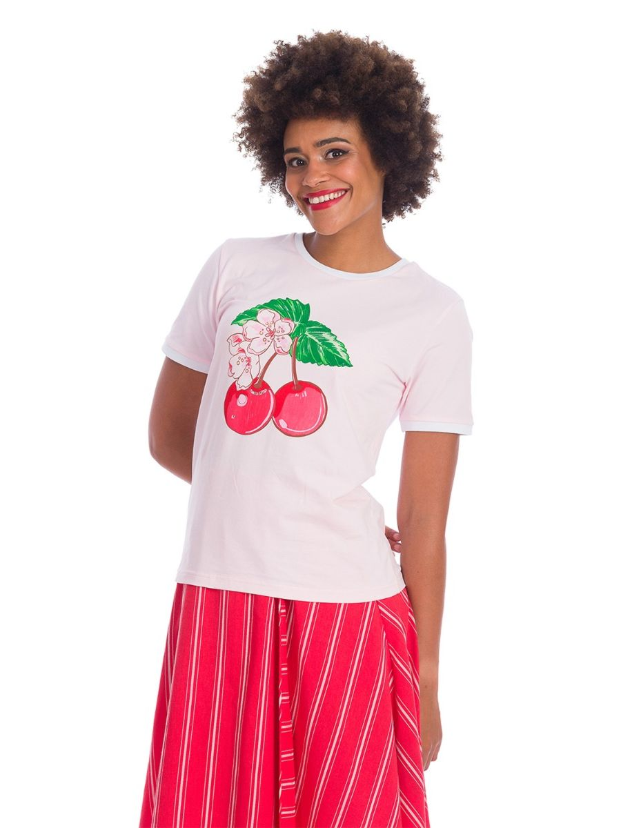 Banned Retro 70's Merry Cherry Dreams Didi Crew Neck Vintage T-Shirt Blush Pink