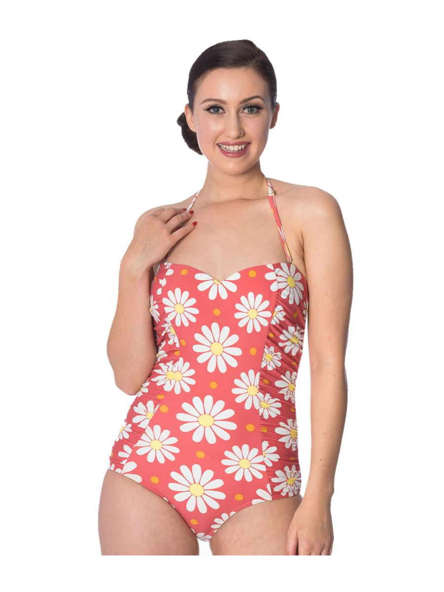CRAZY DAISY HALTERNECK SWIMSUIT