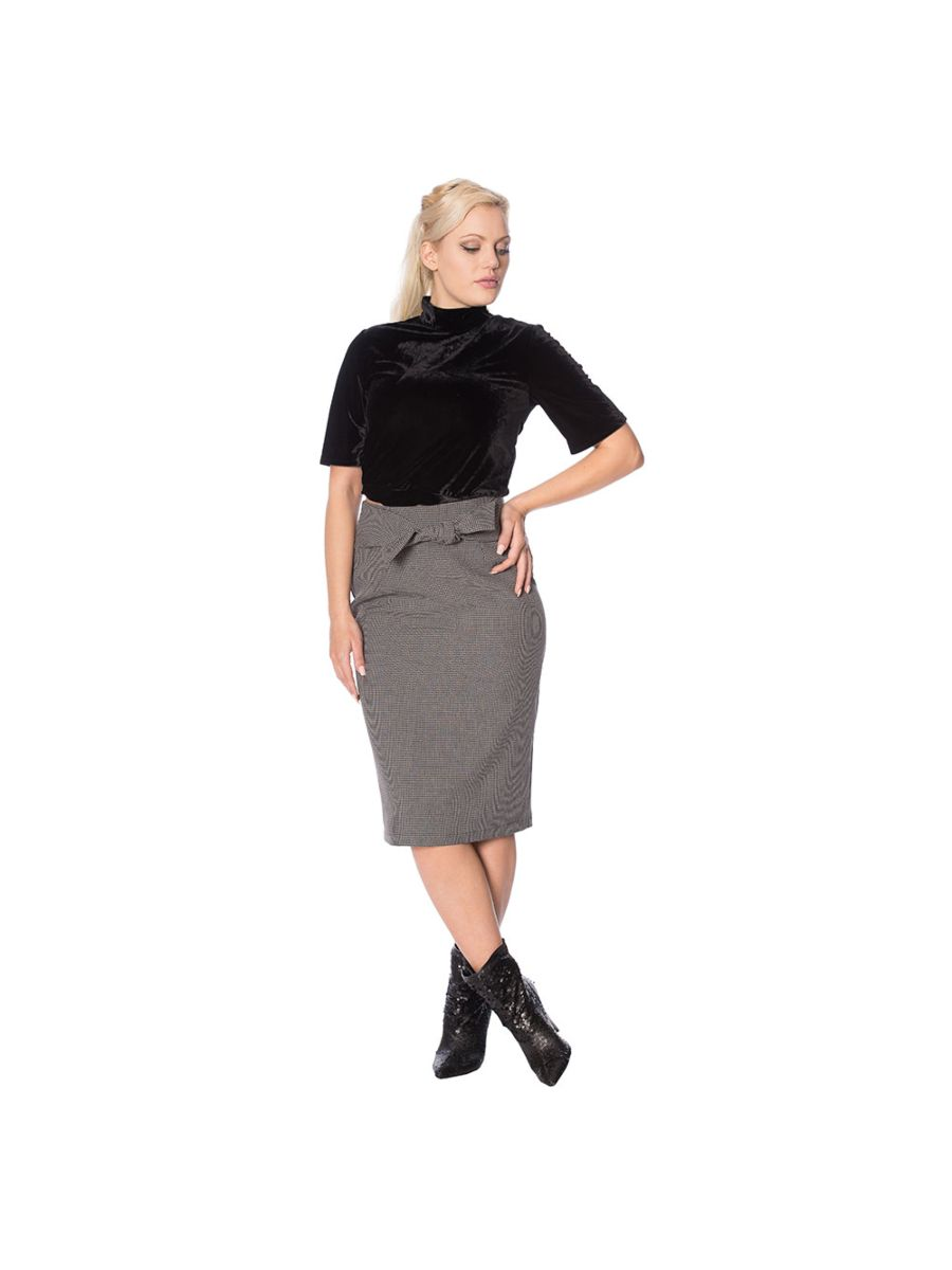 BETTY CHECK TIE FRONT PENCIL SKIRT