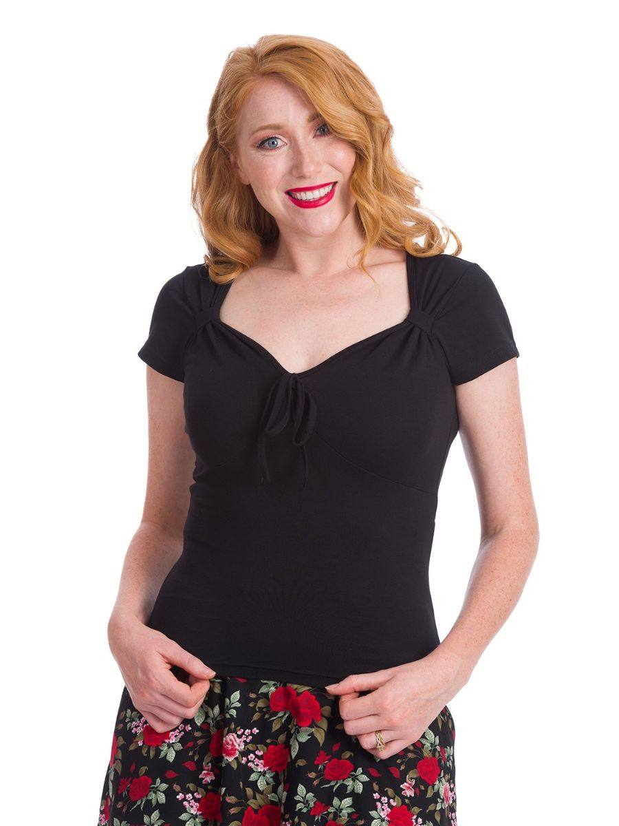 Banned Retro 1960's Pearl V-Neck Bow Vintage Top Black