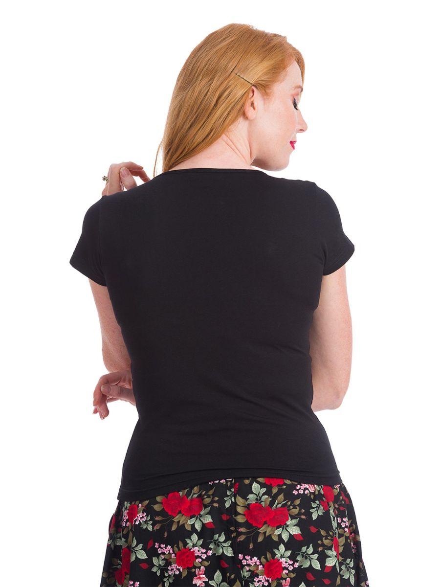 Banned Retro 1960's Pearl V-Neck Bow Vintage Top Black