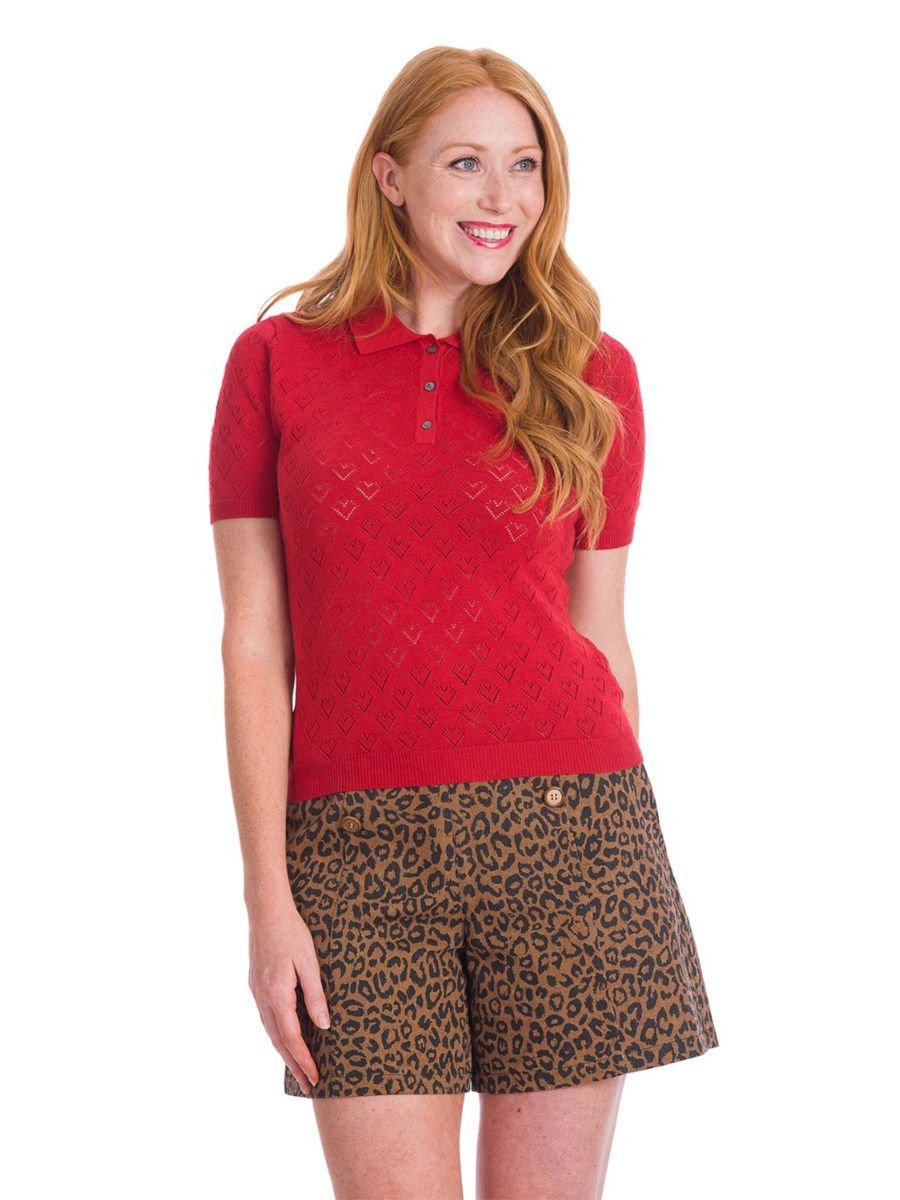 Banned Retro 1950's Smart Love Hearts Perforated Knit Top