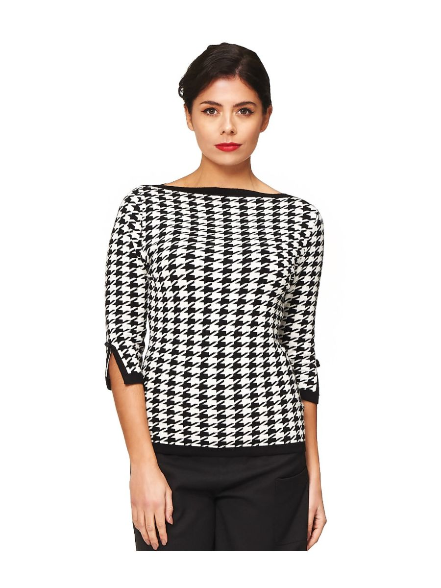 Banned Retro 1950's Izzy Houndstooth Knit Top Black White