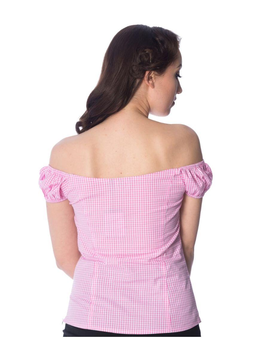 Banned Retro 1950's Summer Loving Gingham Check Off Shoulder Vintage Top Pink