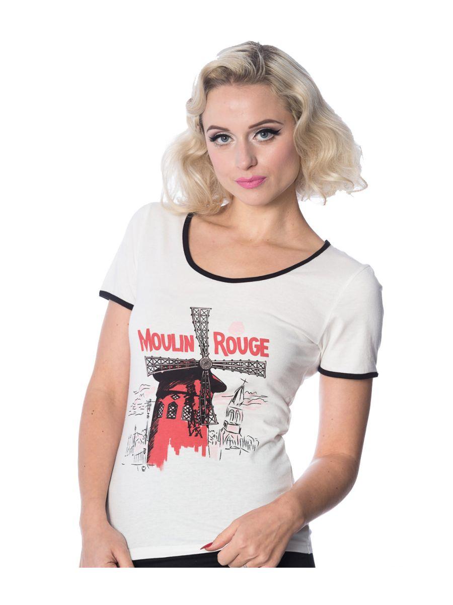 Banned Retro 1950's Paris Moulin Rouge T-Shirt Off White