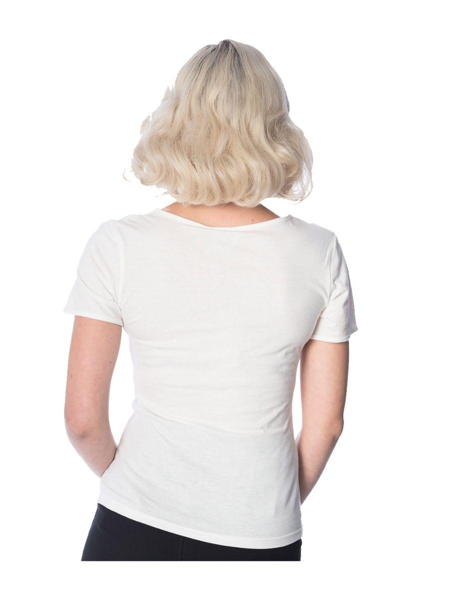 Banned Retro 1950's Typist Super Typewriter Didi Crew Neck Vintage T-Shirt Off White