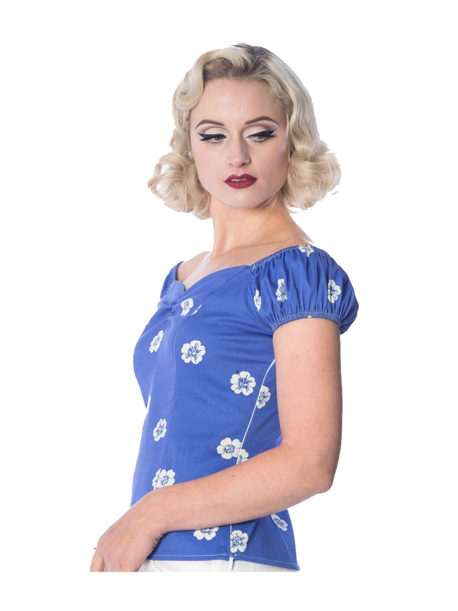 Banned Retro 1950's Tutti Fruity Flower Floral Off Shoulder Top Blue