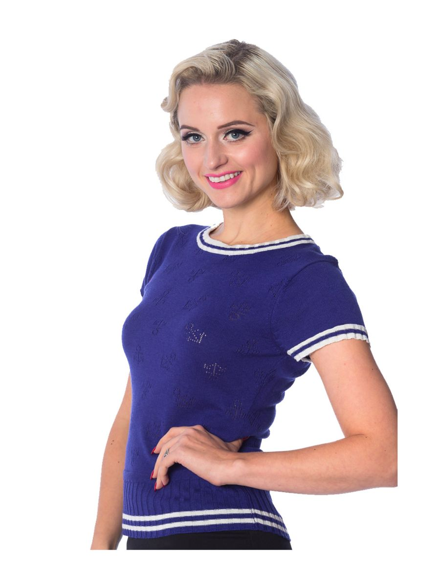 Banned Retro 1950's Set Sail Anchors Perforated Nautical Rockabilly Crew Neck Knit Top Blue