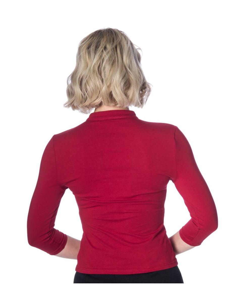 Emily Peek A Boo Mandarin Collar Top