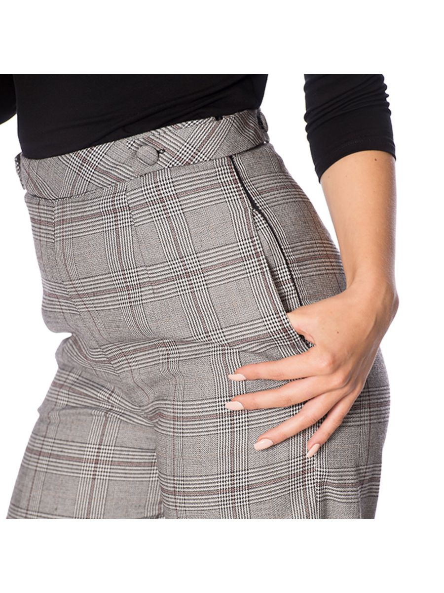 THE CLASSY 40s CHECK FLARE TROUSER