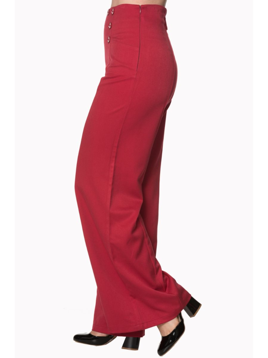 STAY AWHILE ANCHOR NAUTICAL WIDE LEG TROUSERS