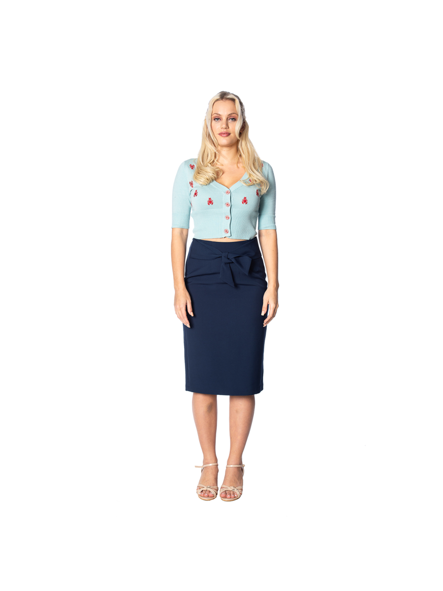 TROPICAL DAY 50S TIE FRONT PENCIL SKIRT